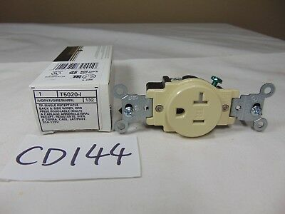 New Leviton T5020-I Ivory Single Receptacle 20 Amp 125 Volt 5-20R Back-Side Wire