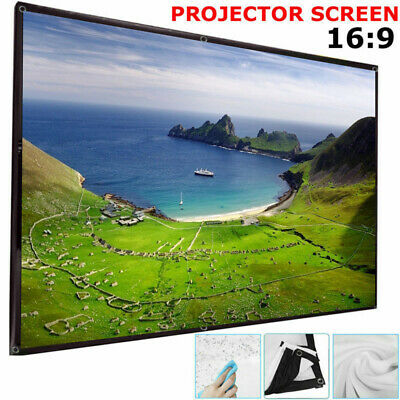"""16:9 Wall Ceiling HD Projector 120"""" Screen Projection Home Theater 3D 4K Film UK"""
