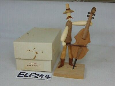 Vintage B Borowik & S Byliniak /Poland/Hand Carved Figure Man Playing Cello