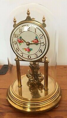 Large Kundo Brass / Glass Dome Floral Face Anniversary Clock