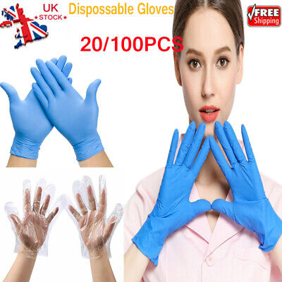 20/100X Home Blue Nitrile Disposable Gloves Powder Free Latex Free Food Gloves