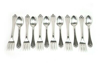 Small silver teaspoons and dessert forks for 6 persons. Denmark, Horsens, 1959