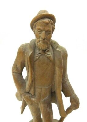 """Vintage Hand Carved Wooden Man Statue 8 3/4"""" Tall-All one Piece-Folk Art(?)"""
