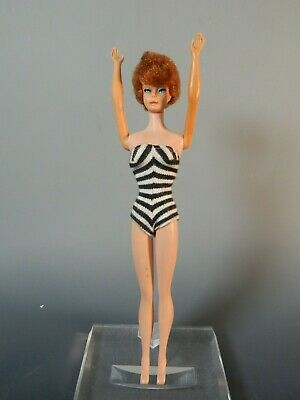 Vintage 1958 Midge Barbie Doll Bubble Cut, Red Hair, Black White Swimsuit