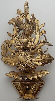 Unusual Antique Chinese Gold Gilt Silver Flower Basket & Birds Pendant Brooch