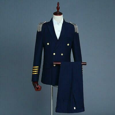 Men Peak Lapel Airline Pilot Captain Suit Aviator Costume Uniform Jacket s