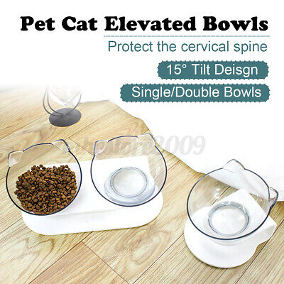 Detachable Elevated 15° Cat Dog Bowl w/ Raised Stand Pet Food Water Feeder Bowls