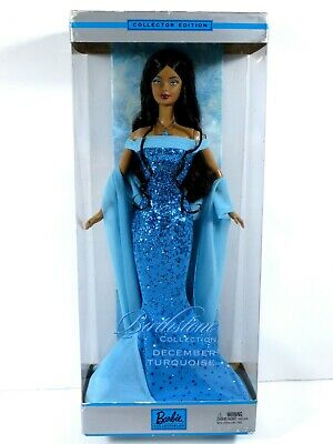 **Nib Barbie Doll 2002 Birthday Birthstone December Turquoise B2397