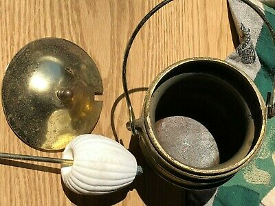 Antique  Vintage Brass Copper Plated tobacco Apothecary 3 Leg Kettle Bucket