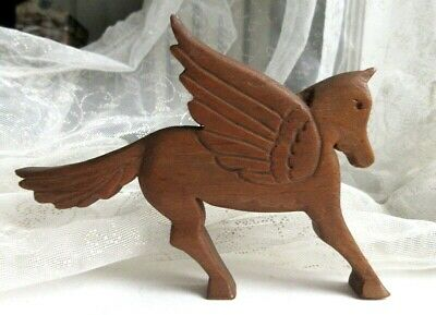 PEGASUS Old Vintage Hand-carved Wood Folk Art Winged HORSE FIGURINE Americana