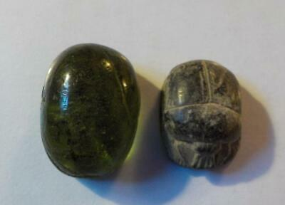 2 Ancient Egyptian Scarab Beads With Hieroglyphics, Green Glass & Carved Stone