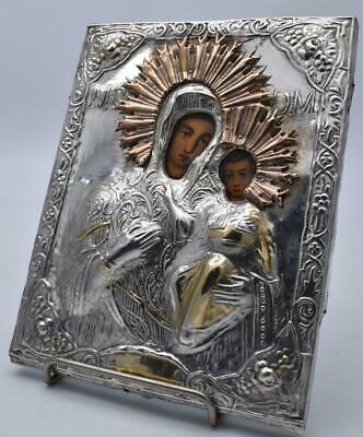 Superb Large Antique Russian Silver Icon - Virgin Mary With Baby Jesus