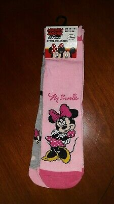 Minnie Mouse Twin Pack Socks NEW Gift Idea Size 12.5 - 3.5