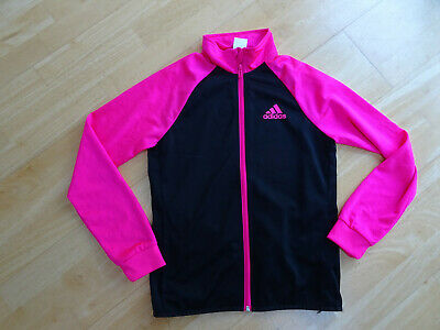 ADIDAS girls pink black zip thru tracksuit jacket jumper AGE 13 - 14 YEARS EXCEL