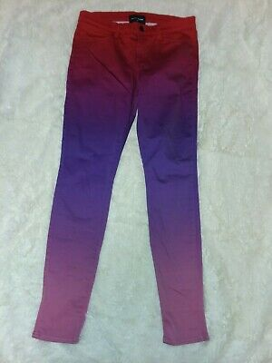 J BRAND Rob Pruitt Red Purple Ombre Maria High Rise Super Skinny Jeans size 29