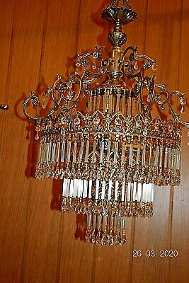 BEAUTIFUL MASSIVE OLD FRENCH CRYSTAL  CHANDELIER  29 ins DROP