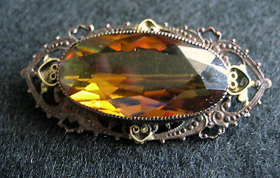 Vintage Topaz Glass Filigree Pin Handmade Brooch Collectible