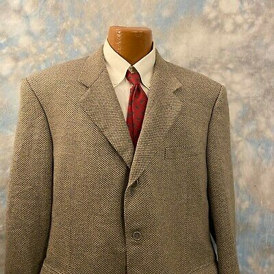 Canali Sz 48 R Gray Patterned Wool Three Button Men's Blazer ITALY