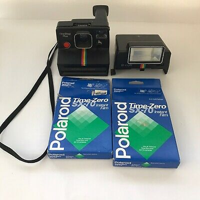 Polaroid One Step Plus Camera With Q Light And 2 Boxes Of Time Zero SX 70 Film