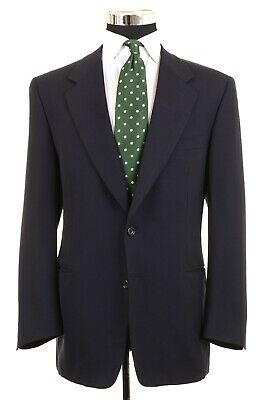 Canali Made in ITALY Navy Blue Textured Woven Wool Sport Coat Jacket Blazer 44 R