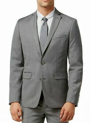 Bar III Mens Blazer Gray Size 40 Two Button Dual Pocket Suit Stretch $425 313