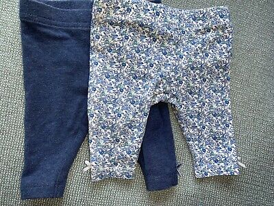 Next Baby Girls First Size Leggings. Two Pairs. Blue Floral Bows