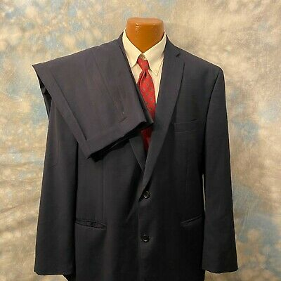 Michael Kors 48 R Navy Blue Plaid Wool Two Button 2 Pc Men's Suit