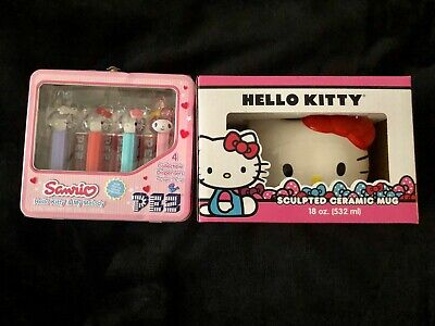 NIB Sanrio Hello Kitty Sculpted Ceramic Mug And Lunchbox With Pez Dispensers