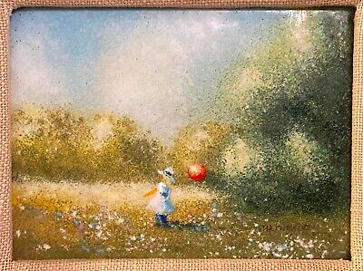 Vintage Listed Artist Charles Parthesius Signed Enamel on Copper Painting Framed
