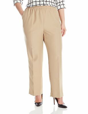 Alfred Dunner Women's Beige Size 18W Plus Pull On Elastic Pants Stretch $36 #513