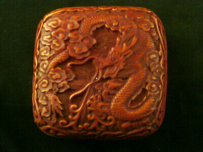 Cute Chinese Carved *Dragon* Square Box