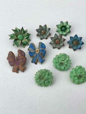 Lot of 10 Vintage Floral and Bow Push Pins Curtain Tie Backs Metal Tin Plastic