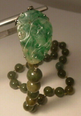 Antique Chinese c1900 Jade Ball Bead Necklace Jadeite & Silver Carved Pendant **