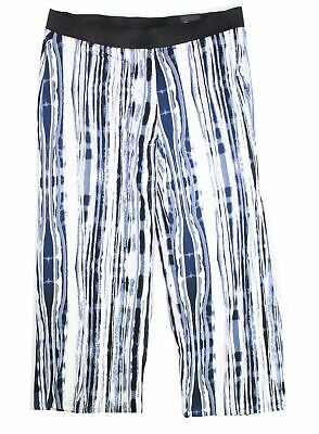 Alfani Womens Pants Blue Size 0X Plus Wide-Leg Pull-On Printed Stretch $69 114