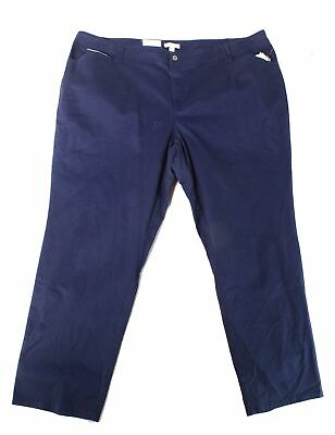 Charter Club Womens Pants Intrepid Blue Size 22W Plus Slim-Leg Stretch $69- 023