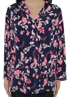 Charter Club Womens Blouse Navy Blue Pink 2X Plus Pleated V-Neck Floral $54 126