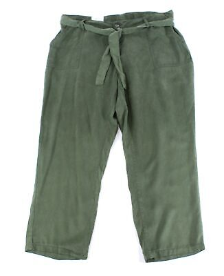 Style & Co. Womens Pants Army Green Size 16W Plus Straight Belted $59 144