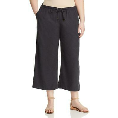 Eileen Fisher Womens Pants Gray Size 1X Plus Wide Leg Cropped Stretch $198- 446