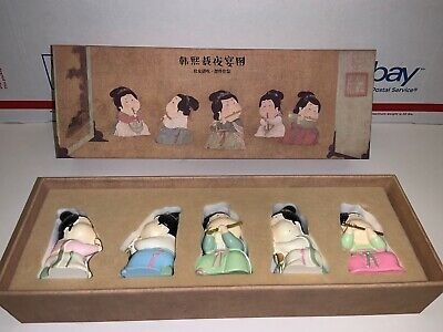 antique chinese figurines statues porcelain Hand Made Hand Painted In Box Of 5