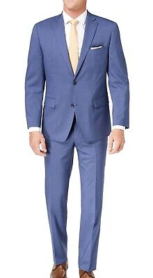 Michael Kors Mens Suit Blue Size 38 Stretch Striped Two Button Wool $600- 235