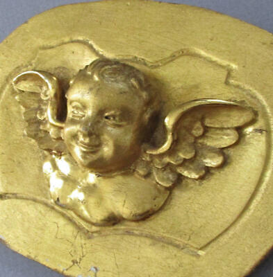 Antique Miniature 19thC Carved Gilt Wood & Gesso Winged CHERUB Fragment w Stand