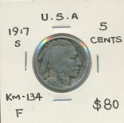 USA 1917s Buffalo Nickel KM-134 Fine