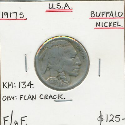 USA 1917s Buffalo Nickel KM-134 F/gF Flan Crack on Obverse