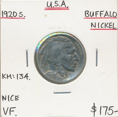 USA 1920s Buffalo Nickel KM-134 VF