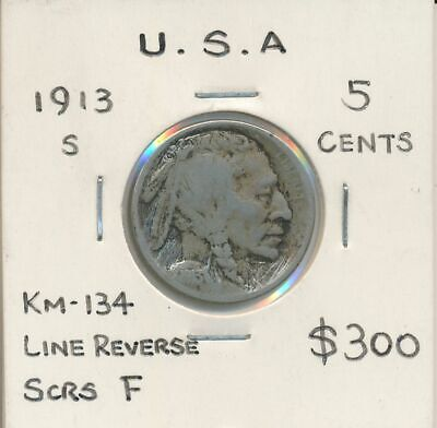 USA 1913s Buffalo Nickel KM-134 Line Reverse Fine with Scratches  RARE