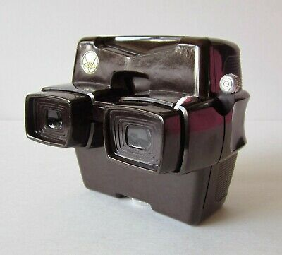 ViewMaster RESTORED BROWN Color Model D Focusing LED Lighted Viewer MINT + Box