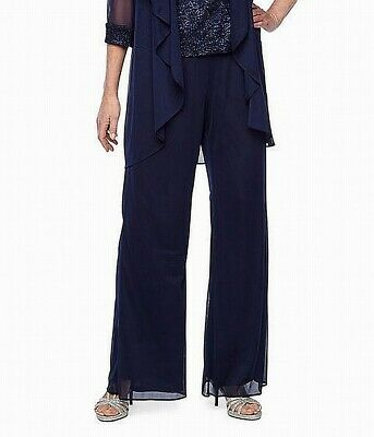R&M Richards Womens Dress Pants Blue Size 14W Plus Pull-On Solid $89- 565