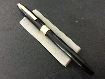 Sheaffer Imperial Touchdown Filler, 1970'S Black, Gold Trim 14Ct Gold Inlaid Nib