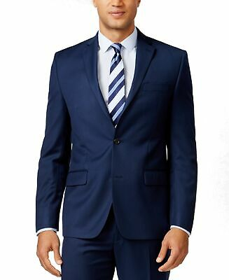 Michael Kors Mens Suit Jacket Navy Blue Size 46 Long Solid Two Button $425 023