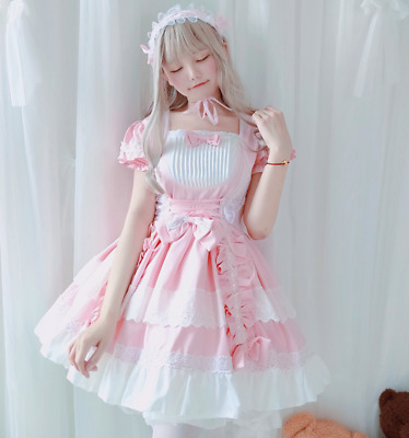Grils Lolita Bowknot Ruffle Cosplay Straps Princess Dress Womens Student LY00